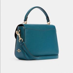 GORGEOUS COLOR TOP HANDLE SATCHEL TEAL INK PEACOCK